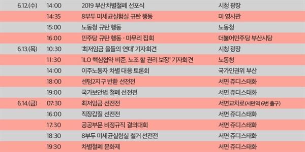 2019 부산 차별철폐대행진 세부 일정