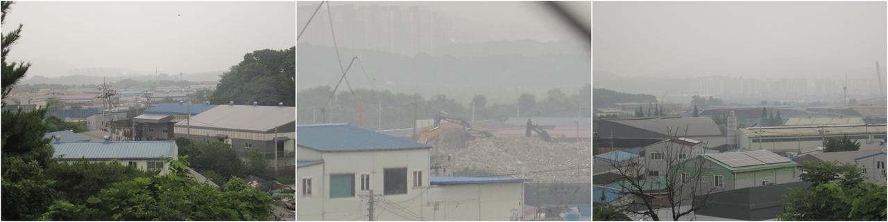 사월마을 전경 마을주변 400여개 폐기물, 순환골재 업체와 난개발 공장들