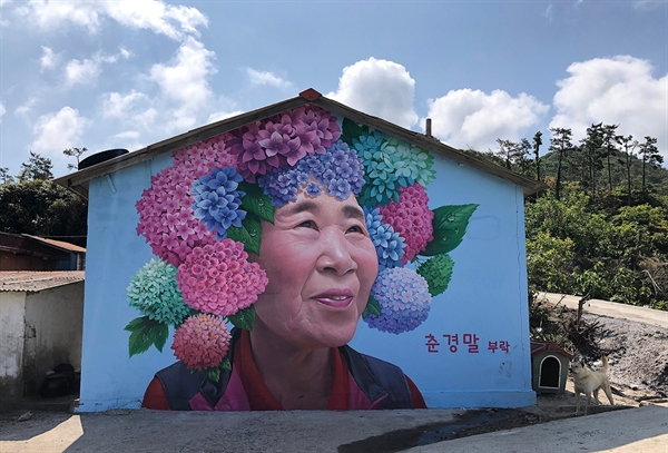 이세돌 기사의 어머니 박양례씨도 자신이 나고 자란 고향집 마을벽화의 모델이 되었다. 수국꽃 화환을 쓴 어머니의 미소가 그윽하다.