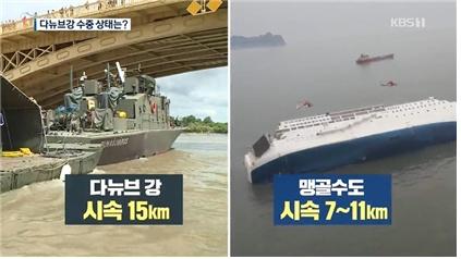 △ 다뉴브강과 맹골수도의 유속 비교한 KBS <뉴스9>(6/1)