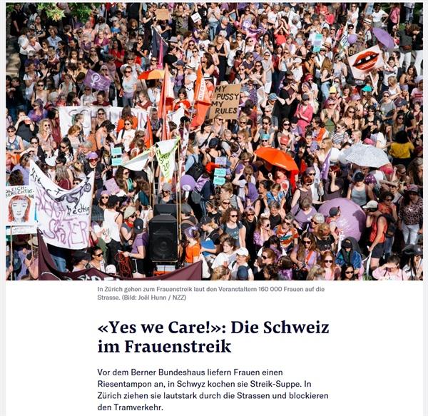 스위스 여성 수십만 명이 14일(현지시간) 성차별 없는 임금과 대우를 요구하며 전국적으로 파업과 시위를 벌였다.