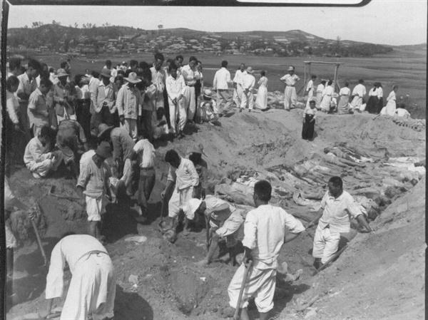 1950. 9. 29. 전주, 주민들이 대량 학살 암매장된 현장을 파내고 있다.