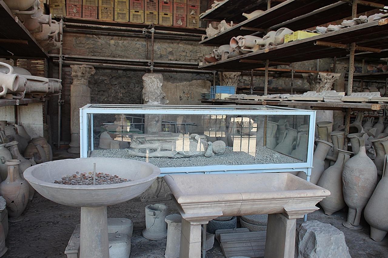 폼페이 자료관에 전시되어 보관되고 있는 인간과 동물 그리고 기타 화석들 모습