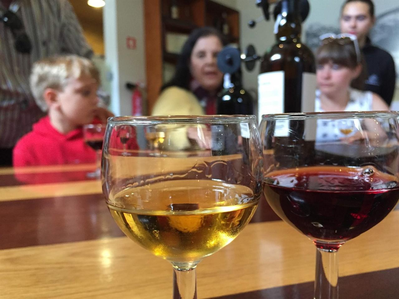 포트와인 투어에 나섰어요.  강변의 와인창고에서 포트와인 투어에 나섰어요. 창고 투어를 마치고 시음을 위한 와인을 두 종류 시음했어요. 일반 와인보다 달콤한 포트와인은, 달콤함에 솎으면 안되요. 알코올 도수가 일반 와인보다 세 배는 되거든요!