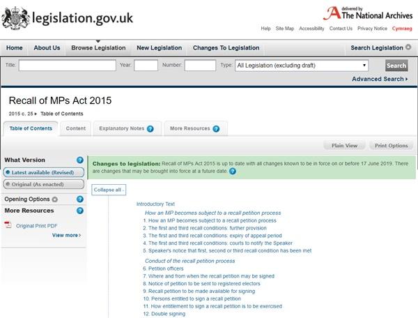영국 법령 법률 데이터베이스에 올라와 있는 국민소환법(Recall of MPs Act 2015).