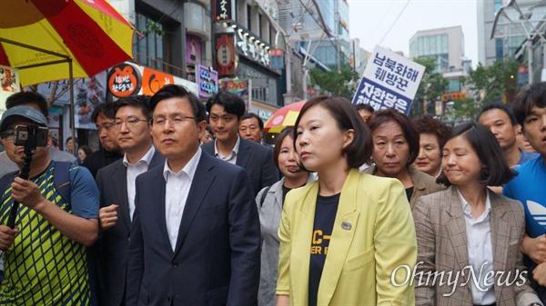 황교안 자유한국당 대표가 16일 오후 부산 남포동을 찾았다.