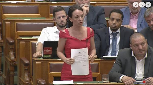 지난 17일(현지시각) 열린 대정부질문에서 헝가리대화당 티메아 서보 의원이 빅터 오르반 총리에게 질의하고 있다.