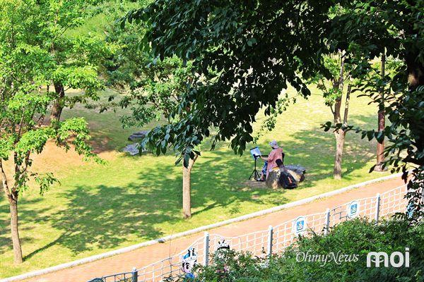 지난 24일 오후, 경주 송화산 흥무공원 나무 그늘 아래에서 혼자 기타를 치며 취미생활을 즐기는 모습