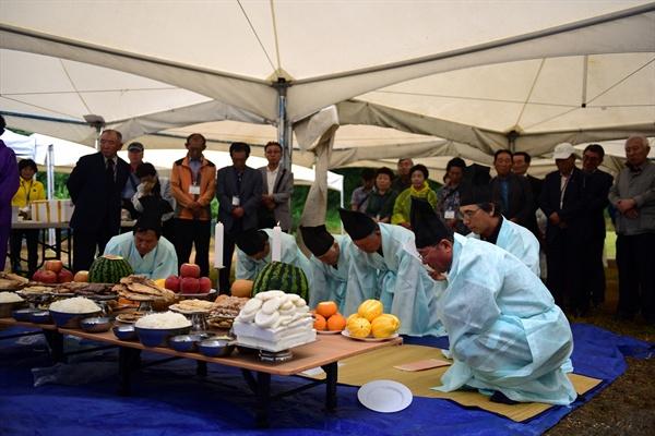 제주4.3희생자유족회대전위원회의 대전 산내 골령골 위령제에는 유족 40여명이 참석했다.