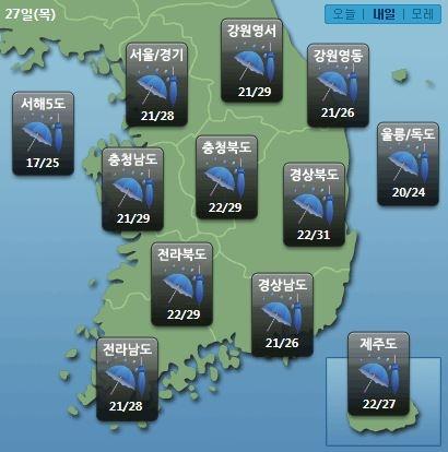 주요 지역별 내일날씨 전망(자료제공=케이웨더)