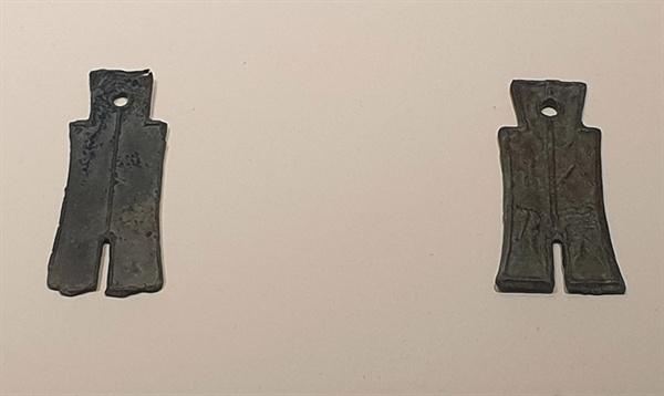 장흥 평화리에서 발굴된 중국 신나라 때 청동으로 만들어진 화폐 대포황천. 장흥이 일찍이 중국과 교역을 했다는 증표다.