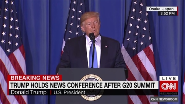 도널드 트럼프 미국 대통령의 주요 20개국(G20) 정상회의 기자회견을 중계하는 CNN 뉴스 갈무리.