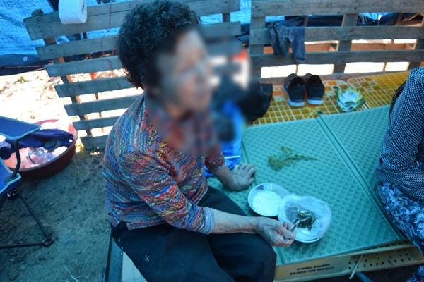 변씨 할머니가 오전 밭일을 마치고 점심을 먹고 있다.