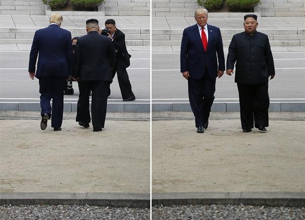 도널드 트럼프 미국 대통령과 북한 김정은 국무위원장이 30일 오후 판문점 군사분계선을 넘어 북측으로 함께 걸어갔다 다시 되돌아오고 있다.