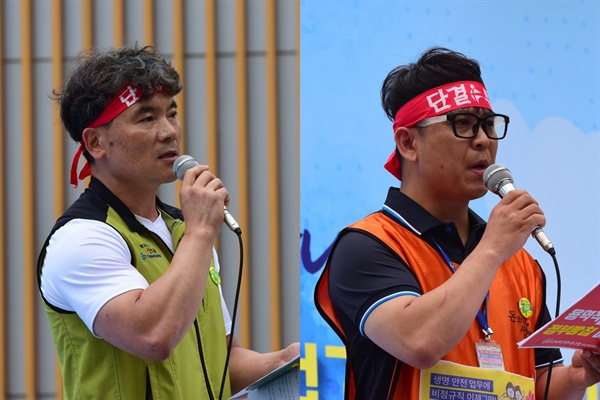 정규직 노동자(왼쪽), 비정규직 노동자(오른쪽) 편지글 낭독 중
