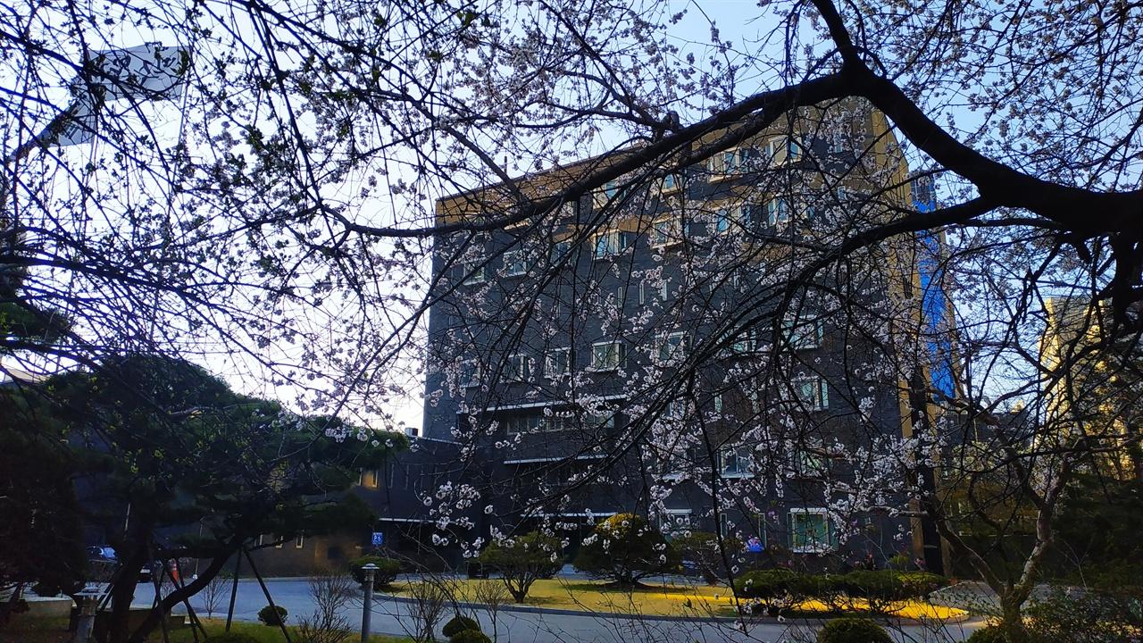 테니스장 옆에서 바라본 옛 남영동 대공분실 본관 건물 건축가 김수근은 본관 건물 앞면은 보안에 신경쓸 만한 높은 건물이 없어 고문실이 있던 5층의 창문만 좁게 설계하였다. 5층만 조심하면 된다고 판단했던 것으로 보인다.