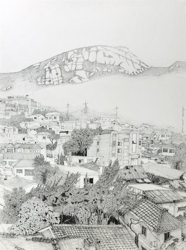옥인동 47번지, 2014~2017년, 펜, 72x53cm