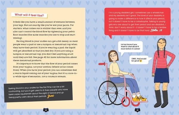 휠체어에 앉아 있는 소녀가 생리에 대한 고민을 친구와 나누고 있다. 해외 도서 'Welcome To Your Period'에 나오는 한 장면.
