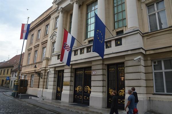 크로아티아 대통령 궁. 작고 소박하지만 크로아티아 정치와 권력의 중심지이다.