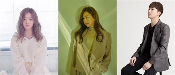 드라마 OST 강자인 벤, 오디션 프로 출신 송하예, 아프리카TV 인기 BJ 황인욱 등은 최근 발라드 열풍을 주도하는 인물들이다. (사진 왼쪽부터)