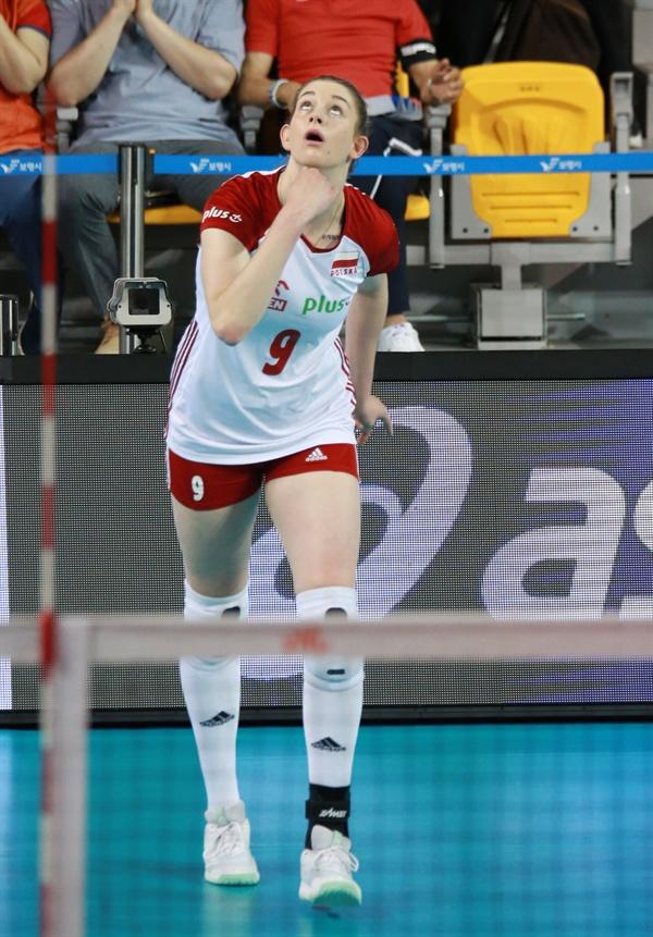 203cm 폴란드 대표팀 스티시아크(2000년생)...  2019 VNL 5주 차 대회 (충남 보령종합체육관, 2019.6.20)