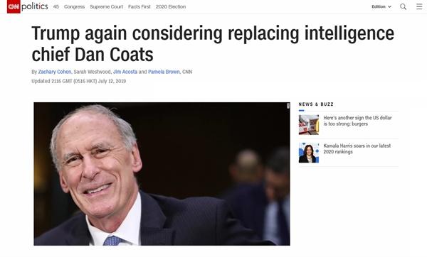 댄 코츠 미국 국가정보국(DNI) 교체설을 보도하는 CNN 뉴스 갈무리.