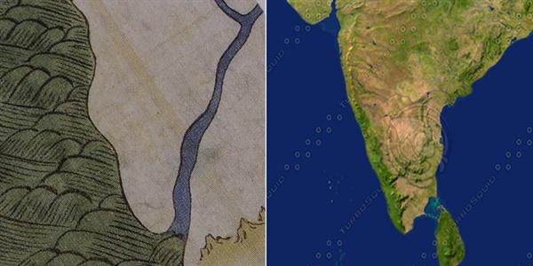 강리도의 인도와 현대 지도의 인도