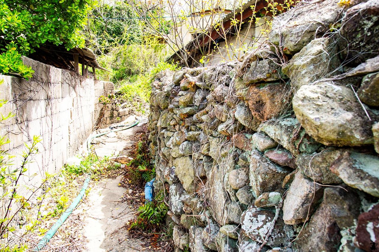 시간의 더께가 느껴지는 돌담 섬의 흔적을 따라 마을 안쪽으로 들어갔다. 세월을 고스란히 느낄 수 있는 돌담길이 좋다.