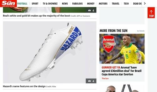 첼시에 대한 존중이 담겼다고 <더 선>이 보도한 아자르의 축구화 디자인