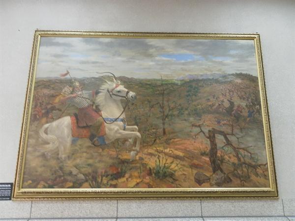 고려말 최영 장군의 왜구 토벌. 홍산대첩으로 불린다. 서울시 용산구의 전쟁기념관에서 찍은 사진.