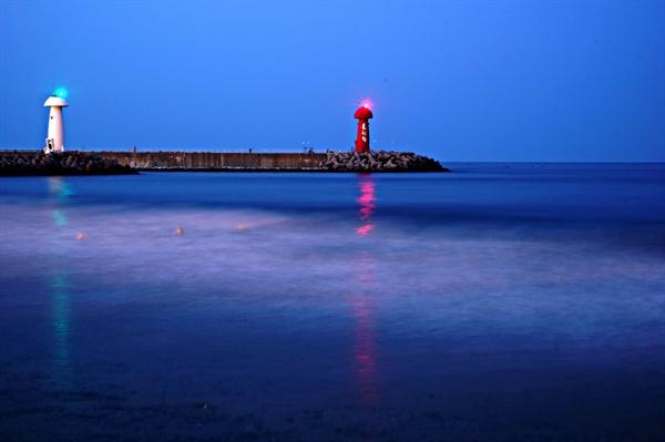 물치항 밤바다 풍경