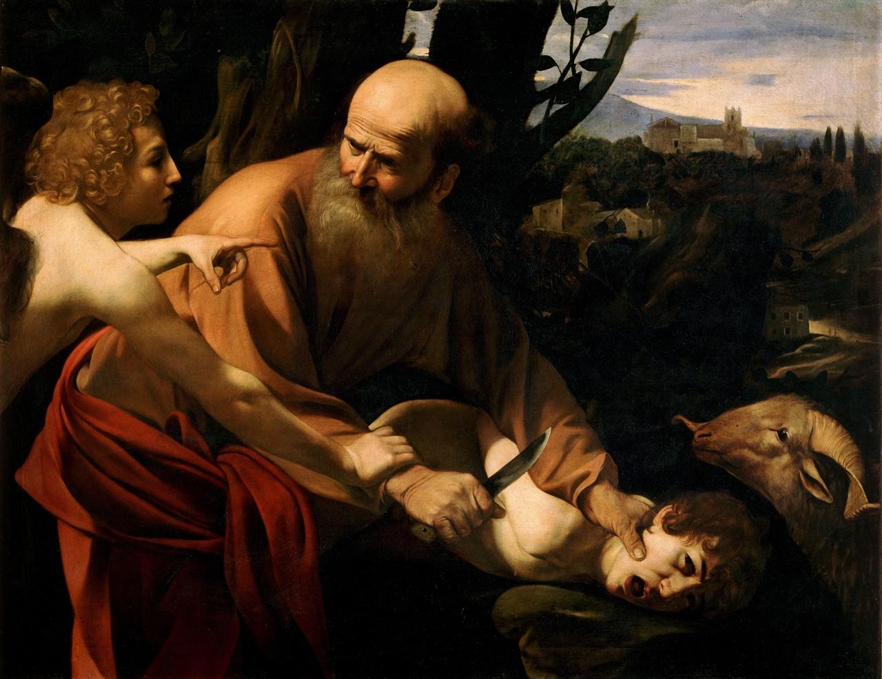 미켈란젤로 카라바지오, 이삭의 희생, 1594-6년  우피치 미술관