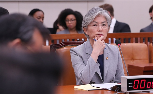 강경화 외교부 장관이 22일 오후 열린 국회 외교통일위원회 전체회의에서 의원발언을 듣고 있다. 이날 외교통일위는 '일본 수출규제 철회 촉구 결의안'을 채택했다.