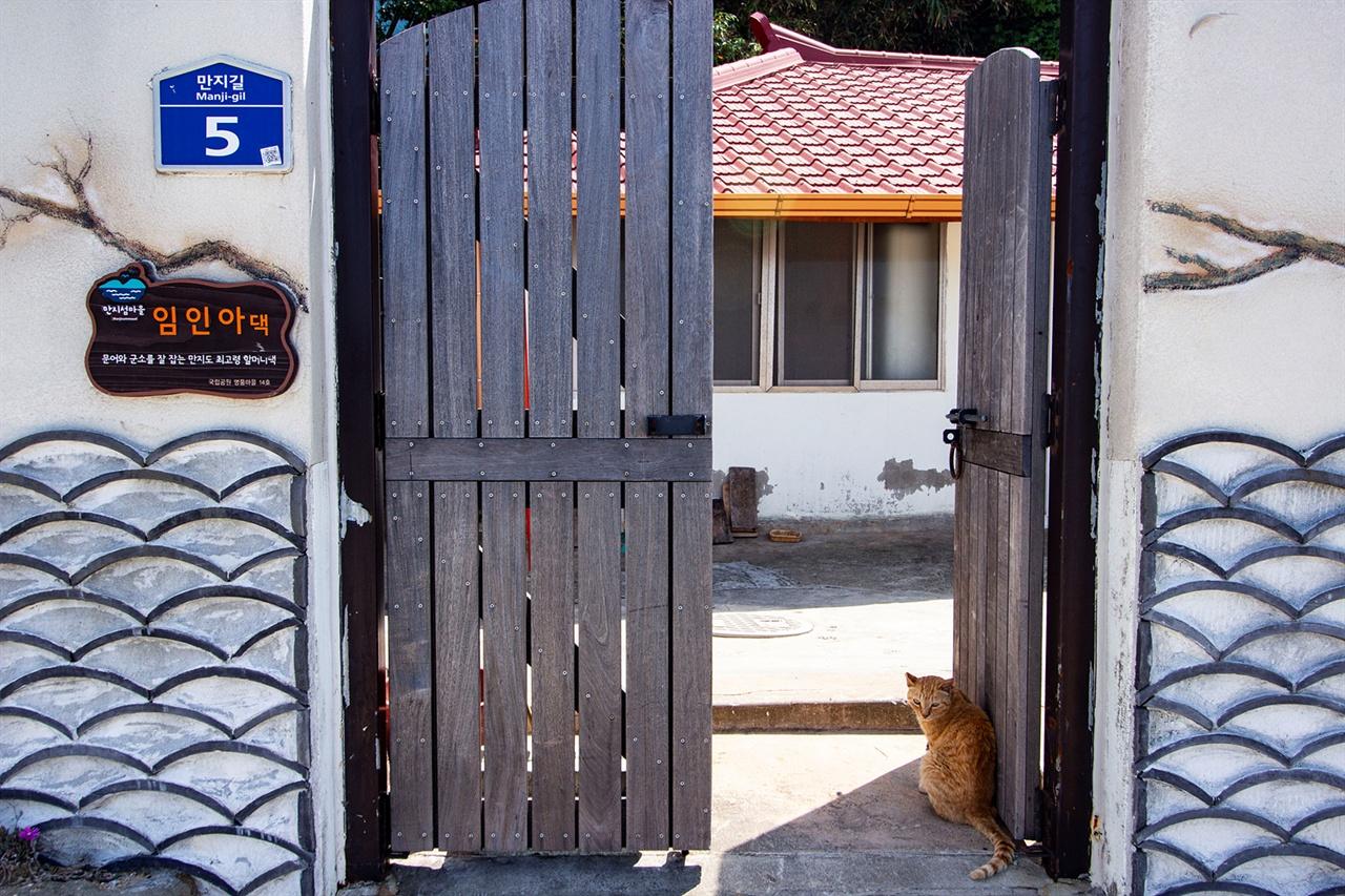 만지도의 가장 어른 댁과 고양이 만지도에서 가장 연세가 높으신 임인아(94세) 할머니 댁이다. 고양이 한 마리가 대문에 앉아 불러도 모른 체하며 능청을 떤다.