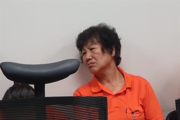 공청회에 참석한 스텔라데이지호 실종 선원 허재용 씨의 어머니
