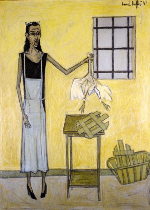 닭을 들고 있는 여인(베르나르 뷔페, 1947, 예술의전당 한가람미술관 전시)