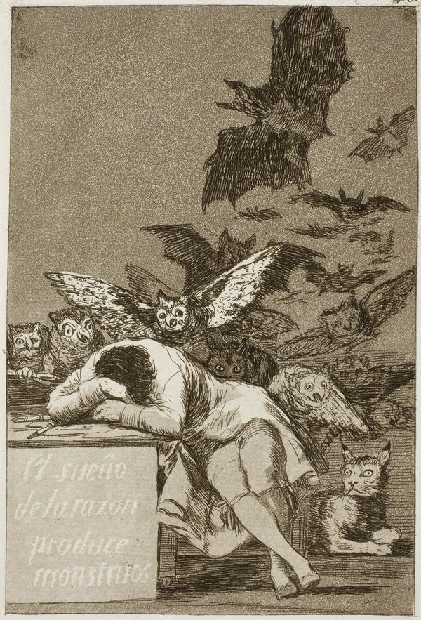 이성의 잠은 괴물을 낳는다, 로스 카프리초스 , 1797년  프라도 미술관