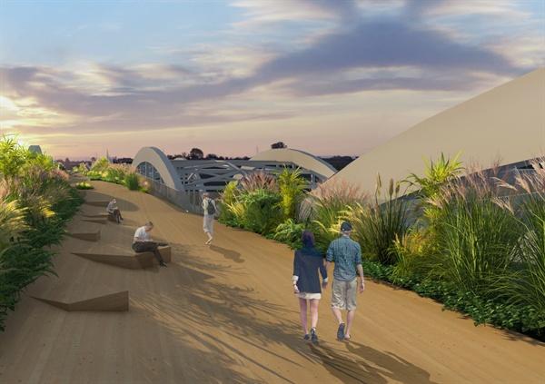 한강대교 남단(노량진~노들섬)에 보행자 전용 공중보행교로 개통 예정인 '백년다리'의 국제현상설계공모 당선작 '투영된 풍경(Reflective Scape)'의 조감도