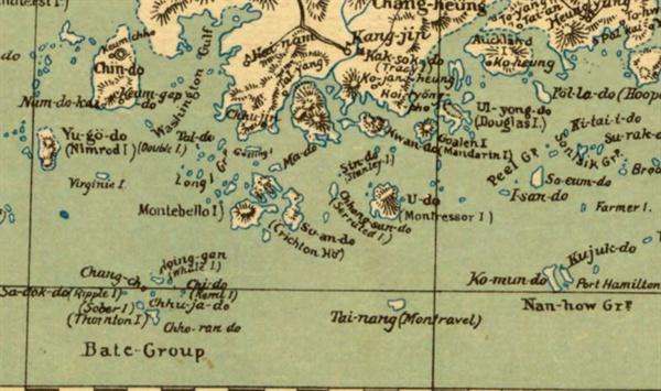 1895년 미국 군사정보국 발간 지도 속 남해.