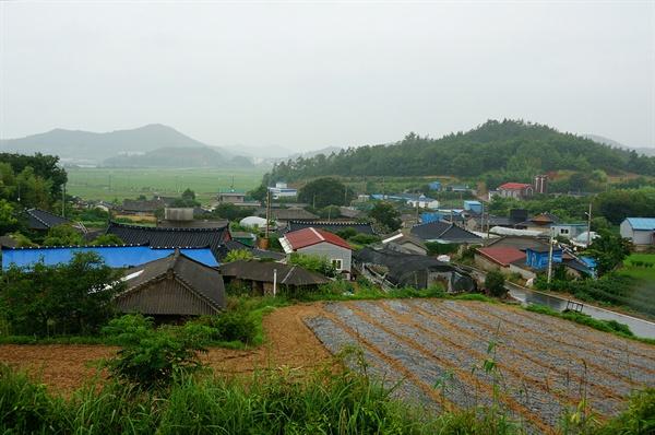 백포마을 전경 마을뒷동산에서 바라다본 백포마을 전경이다. 공재 후손 집으로 오래된 기와집 몇 채와 개량한옥이 뒤섞여 있다.