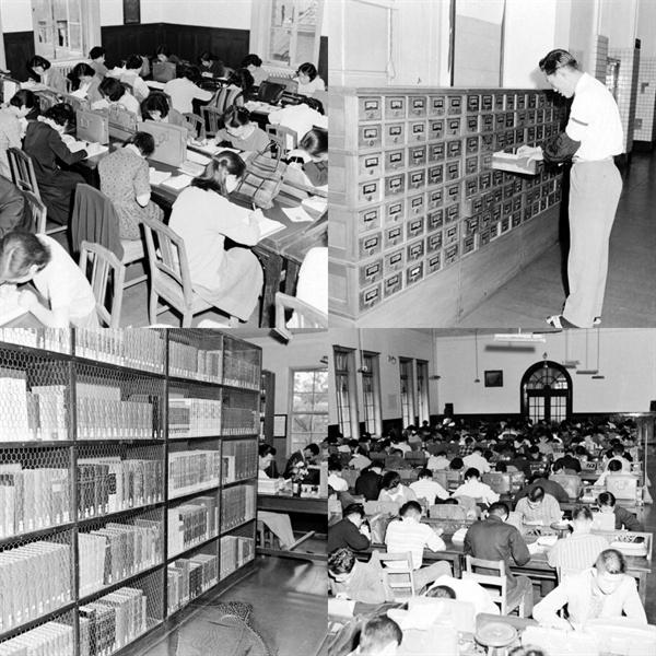 국립도서관 시절의 풍경  국립도서관 시절의 열람실과 목록함, 서가의 풍경을 보여주는 사진으로 1961년 촬영했다. 지금은 국립중앙도서관에서 사라진 열람실과 목록함, 철망서가의 모습을 볼 수 있다. 이 시절은 남성과 여성 열람실이 나뉘어 있었고, 칸막이가 높지 않아 '가방'을 칸막이 대용으로 사용했다.