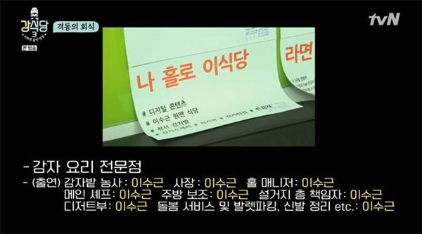 지난 2일 방영된 tvN < 강식당 3 >의 한 장면.  제작진 사무실에 비치된 아이디어 메모만으로도 시청자들에게 큰 웃음을 선사했다.
