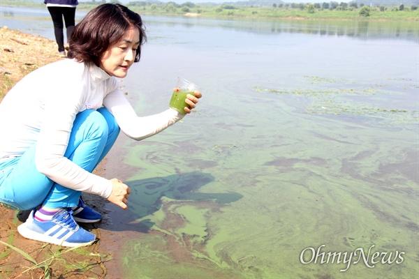 8월 4일 낙동강 합천창녕보 상류 우곡교의 녹조. 한은정 창원시의원이 컵에 녹조 물을 떠 보고 있다.