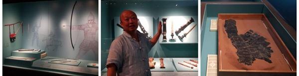 <좌>전쟁 당시 사용되었을 옻칠한 활과 옻칠한 화살통 등.  <중> 한국옻칠협회 이사 이종헌 작가가 고대국가에서는 제일 좋은 칠액으로 무기의 내구성을 높여야 국가의 존립이 가능했음을 설명하고 있다. <우> 옻칠한 말갑옷. 삼국.