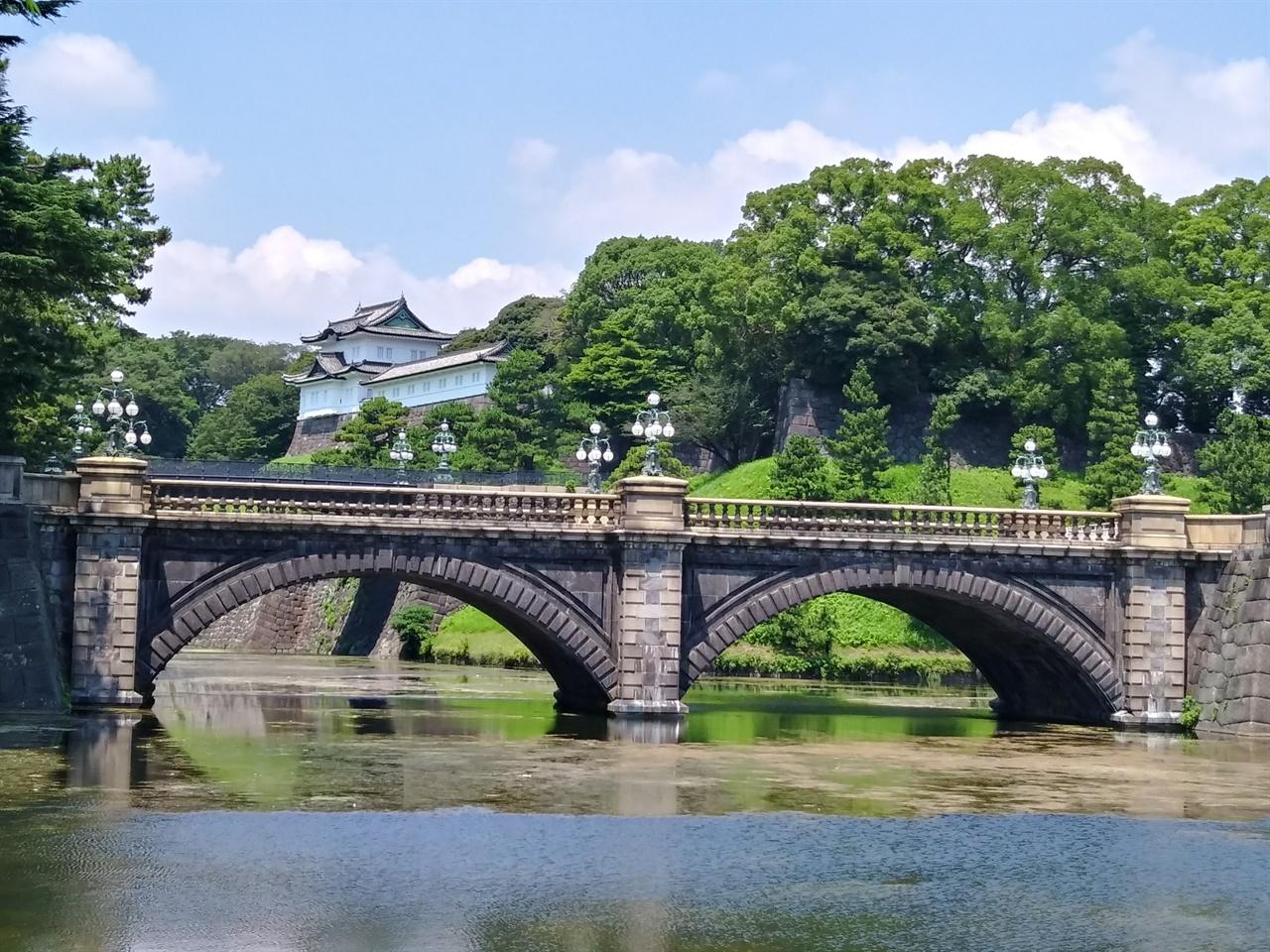 고쿄의 입구, 니주바시 전경 두 겹의 다리라는 뜻의 니주바시 뒤로 에도 성이 보인다.