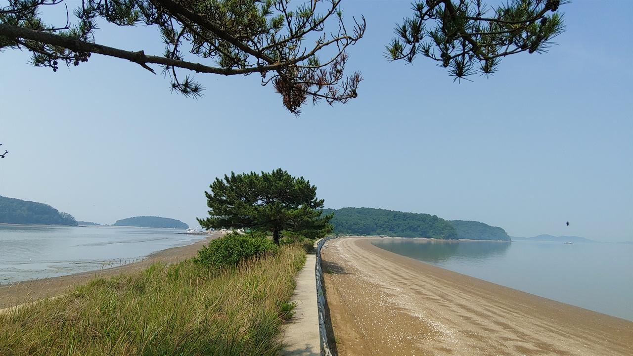 꽃지 해변길. 해변 길을 사이에 두고 갈라졌던 바다는 그 봉우리 끝에서 다시 하나가 된다.