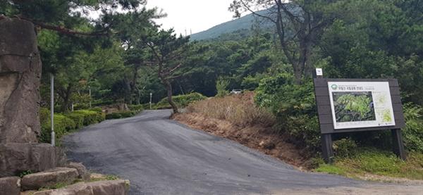 무등산국립공원 탐방로로 이어지는 도로가 정체불명 검은 가루로 뒤덮였다.