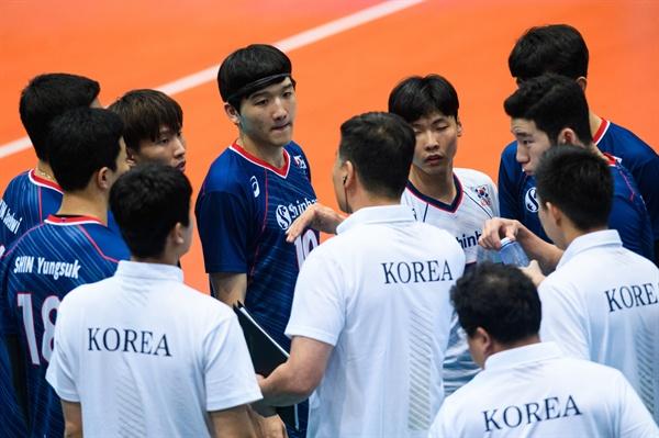 한국 남자배구 대표팀... 도쿄 올림픽 세계예선전 한국-벨기에 경기 (2019.8.12)