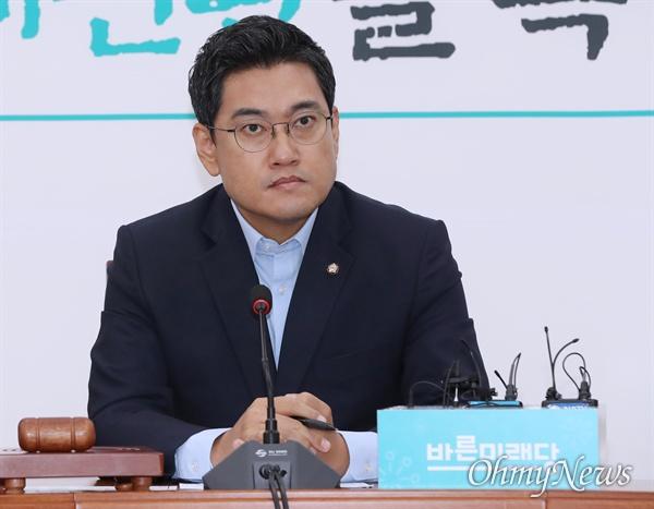 바른미래당 오신환 원내대표가 13일 국회에서 원내대책회의를 주재하고 있다.