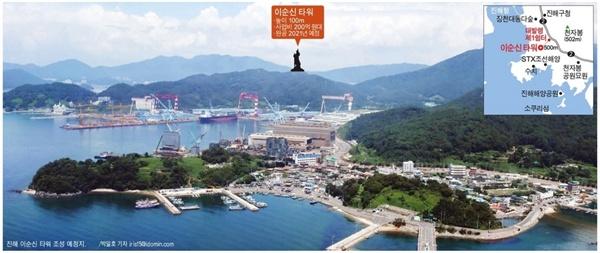 창원 진해구 '이순신 장군 타워' 건립 예정지.
